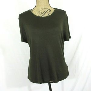LRL Ralph Lauren Deep Olive Silk/ Wool Top Tee